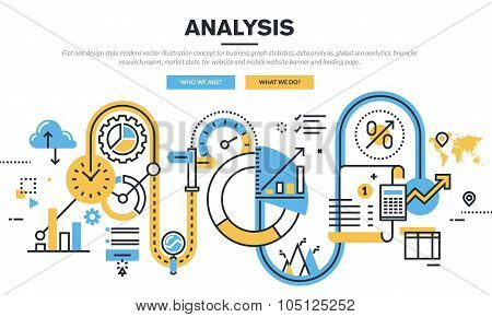 Flat line design vector illustration concept for data analysis