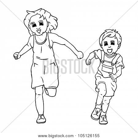 vector - happy girl and boy running and smiling