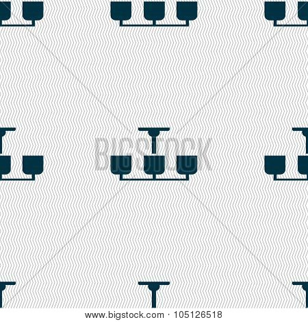 Chandelier Light Lamp Icon Sign. Seamless Abstract Background With Geometric Shapes. Vector