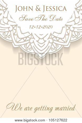 Paper Lace Ornament, Round Ornamental Doily Pattern With Empty Space For Text. Vector Illustration G