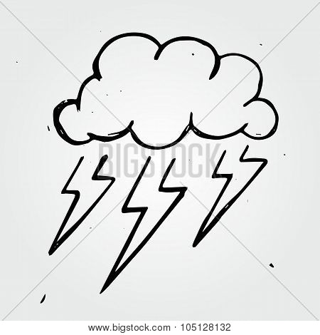 Vector Storm Cloud, Hand Drawn