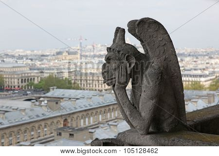 Notre Dame Of Paris, Demon Most Famous Of All Chimeras, Overlooking The Skyline Of Paris
