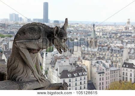 Notre Dame Of Paris, Famous Of All Chimeras, Overlooking The Skyline Of Paris