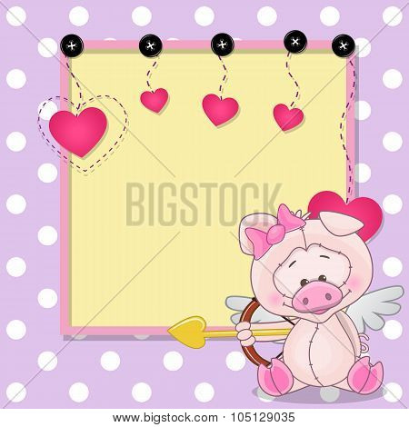 Cupid Pig With Frame