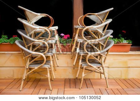 Piled Chairs In Front Of Window