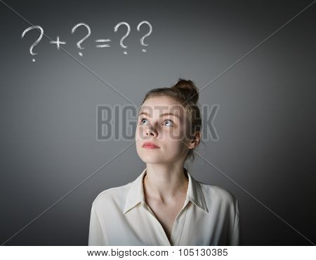 Girl In White And Question Marks