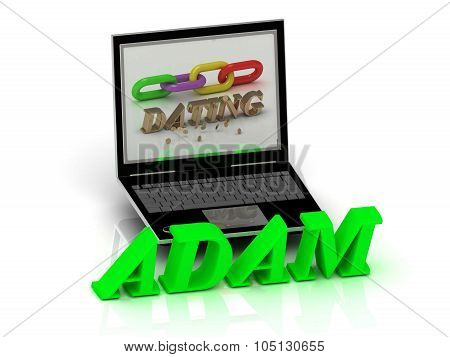 Adam- Name And Family Bright Letters Near Notebook