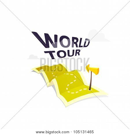 World tour concept logo isolated on white background, long route in travel map with guide marker