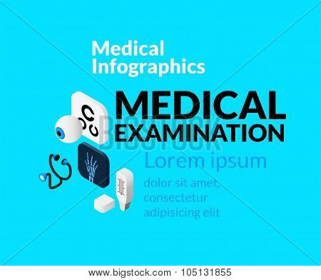 Medical healthcare infographic set with isometric flat icons, medical examination concept