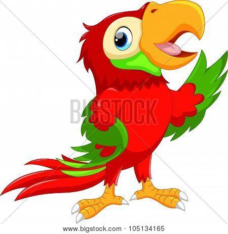 Cute cartoon macaw waving