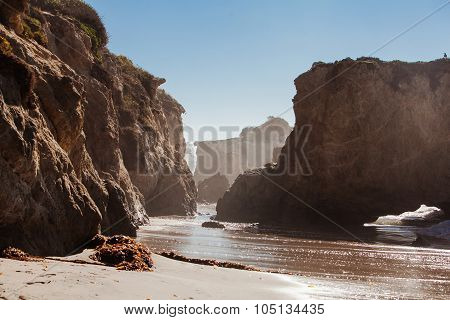 Panoramic view of nice colorful huge cliff and sea. El Matador State Beach, Malibu, California.