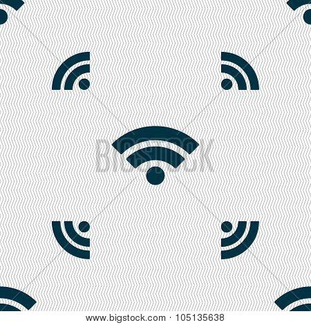 Wifi Sign. Wi-fi Symbol. Wireless Network Icon. Wifi Zone. Seamless Pattern With Geometric Texture.