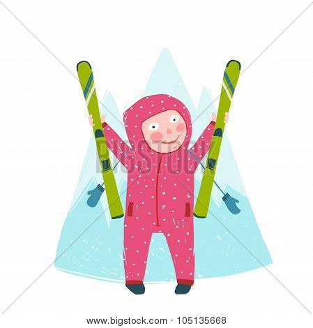 Skiing Sport Child Girl in Winter Clothes with Skies Colorful Cartoon