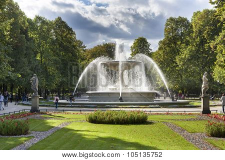 Fountain In The Saski City Garden, Warsaw, Poland