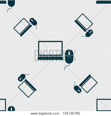 Computer Widescreen Monitor, Mouse Sign Icon. Seamless Pattern With Geometric Texture. Vector