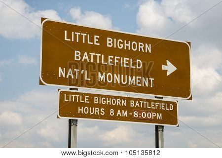 Little Bighorn Battlefield National Memorial entry sign