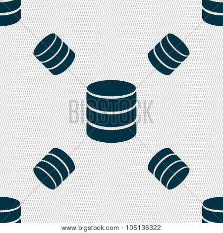 Hard Disk And Database Sign Icon. Flash Drive Stick Symbol. Seamless Pattern With Geometric Texture.