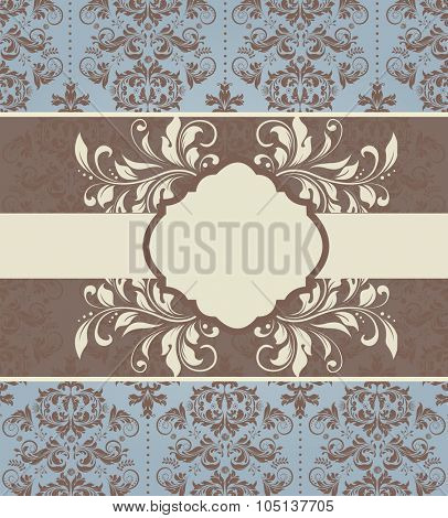 Vintage invitation card with ornate elegant abstract floral design, brown and pale yellow on pale blue with ribbon. Vector illustration.