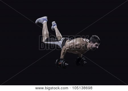 Athlete making no legs push ups