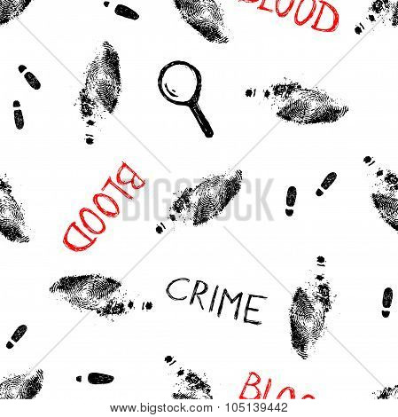 crime pattern with trails and fingerprints, vector illustration