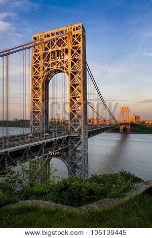 George Washington Bridge And Hudson River At Sunset