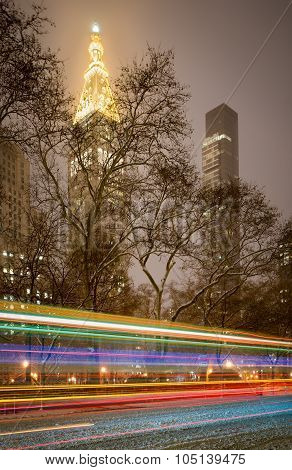 Madison Square Park, Snowstorm At Night, Manhattan, New York City