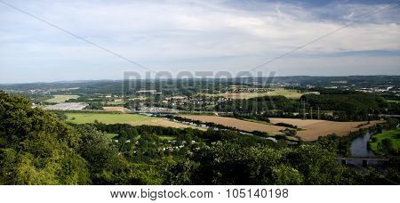 View Of Hengsteysee, Ruhr, And Valley Near Hagen From Hohensyburg Hill