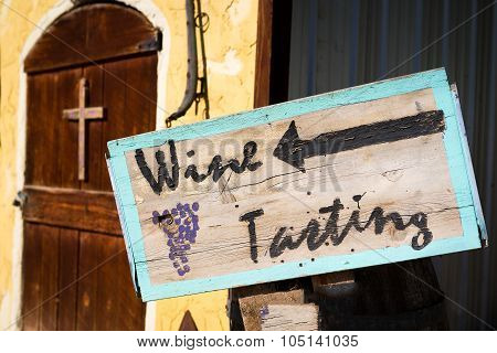Wine Tasting Sign Outside A New Mexico Vineyard