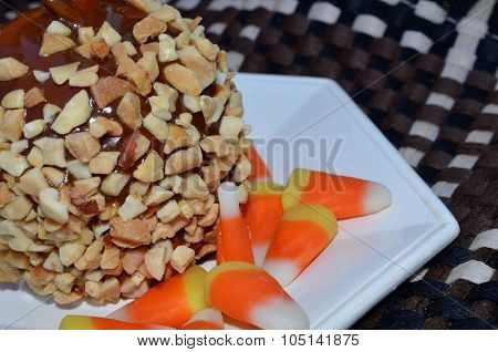 Caramel apple with candy corn