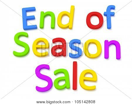 Some colorful magnetic letters building the words end of season sale