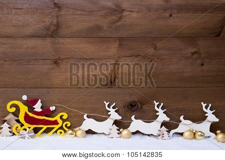 Santa Claus Sled, Reindeer, Snow, Copy Space, Golden Ball