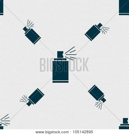 Graffiti Spray Can Sign Icon. Aerosol Paint Symbol. Seamless Pattern With Geometric Texture. Vector