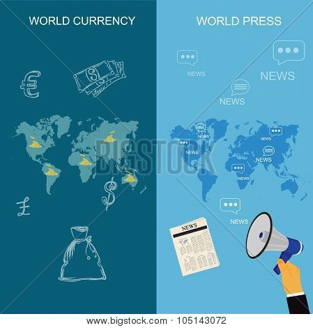 world currency and world press concepts in flat style, vector illustration, template