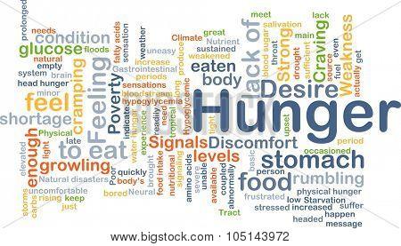 Background concept wordcloud illustration of hunger