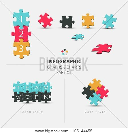 Vector puzzle elements for your infographics - part 12. of my infographic bundle