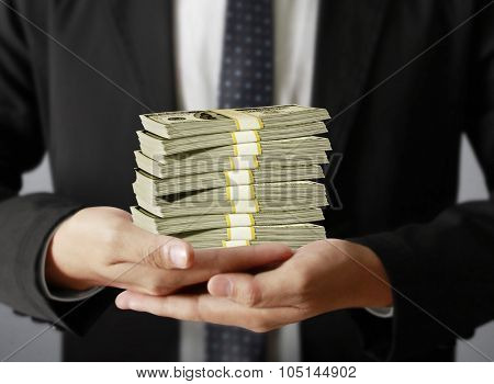 man hand with a dollars