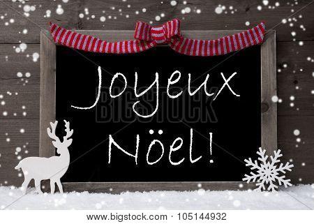 Gray Card, Snow, Loop, Joyeux Noel Mean Merry Christmas