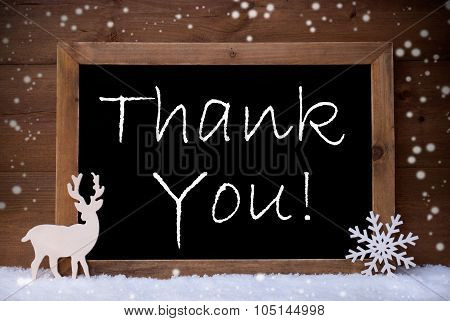 Vintage Christmas Card, Blackboard, Snow, Thank You