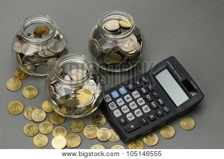 Savings Money With Calculator. Financial Concept