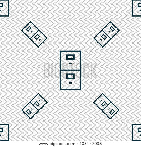 Safe Sign Icon. Deposit Lock Symbol. Seamless Pattern With Geometric Texture. Vector