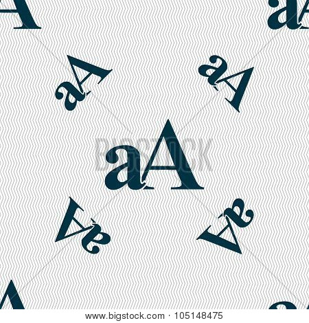 Enlarge Font, Aa Icon Sign. Seamless Pattern With Geometric Texture. Vector