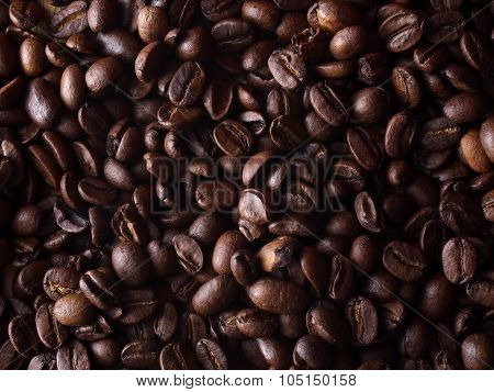 Coffee beans as textured pattern or background
