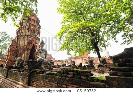 Old buddha pagoda temple with damaged Buddha in Thai temple