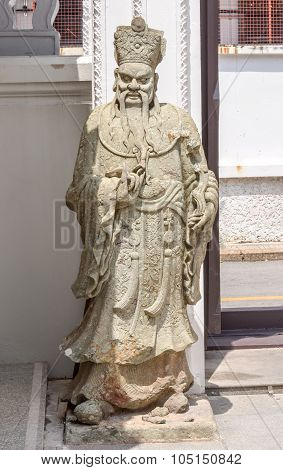 Stone Chinese Soldier Statue In Chinese Temple