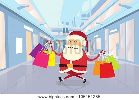 Santa Claus Happy Shopping Walking with Bags in Shop Mall Center Christmas Holiday