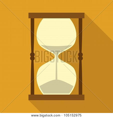 Vintage Hourglass with Sand in Flat Style