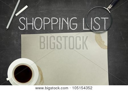 Shopping list concept on blackboard