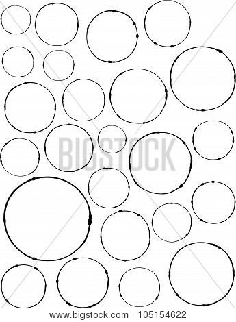 Hand-drawn Liquid Line Circle Shapes Over White