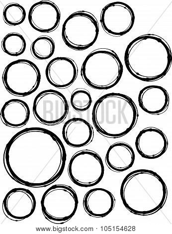 Hand-drawn Liquid Line Circle Shape Collection Over White