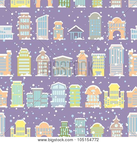 Winter City Seamless Pattern. Snowfall. Skyscrapers And Municipal Buildings In The Snow. Christmas W